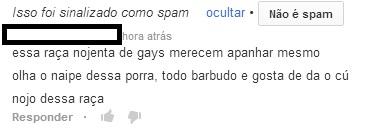 Oi? E ainda dizem que criminalizar a homofobia é exagero, pois não é crime de ódio...